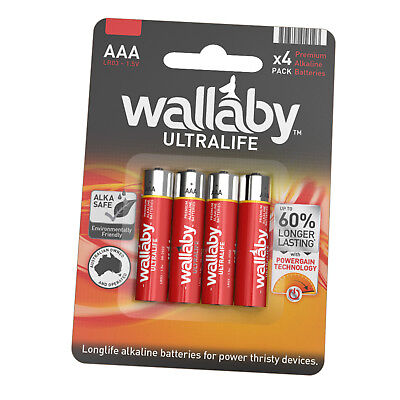 Size AAA Wallaby Ultralife Alkaline Batteries 4/8/16/40/80 AUS FAST POST 4 Pack