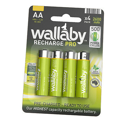 Size AA Wallaby Rechargeable PRO Ni-MH 2600mAh Batteries 4/8/32 FAST POST 4 Pack