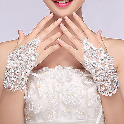 Stylish Fingerless Lace Rhinestone Evening Prom Wedding Bridal Short Gloves