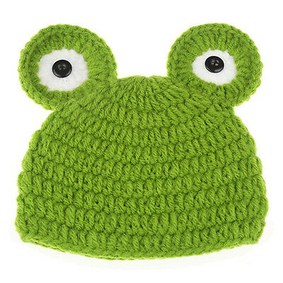 Newborn Baby Infant Crochet Knit Green Frog Hats Costume Photograph Prop