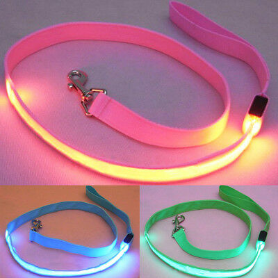 NE_ Pet Dog LED Flashing Light Nylon Safety Anti-lost Leash Lead Rope Belt Hea