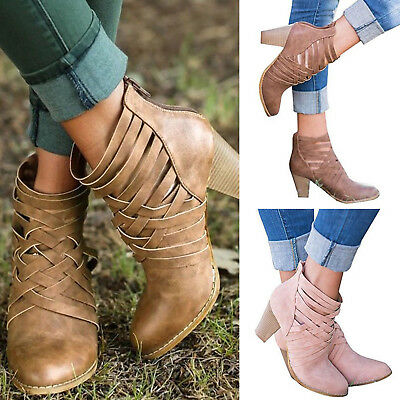 Women's Sandals Shoes Chunky Block High Heel Summer Casual Zipper Ankle Boots