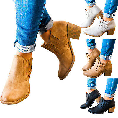 Women's Ankle Boots Low Chunky Wedge Heel Pumps Loafers Chelsea Slip On Shoes