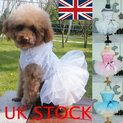UK Pet Dog Cat Puppy Costumes Bowknot Lace Tutu Dress Clothes Outfits Apparel