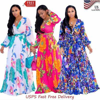 WOMENS SUMMER PLUS Size African Floral V-Neck Long Sleeve ...