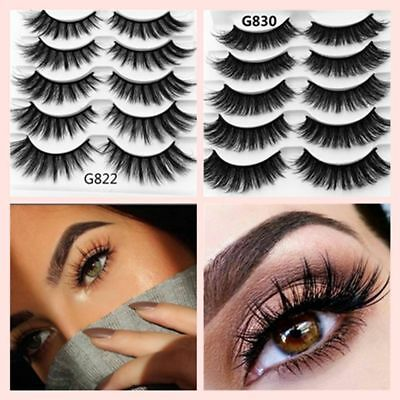 NEW 5Pairs SKONHED 3D Mink Hair False Eyelashes Thick Wispy Lashes Natural Cross