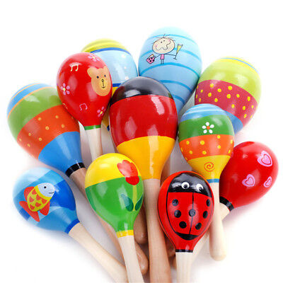 Kids Baby Toddler Wooden Toy Maracas Rumba Shakers Musical Party Rattles KUN