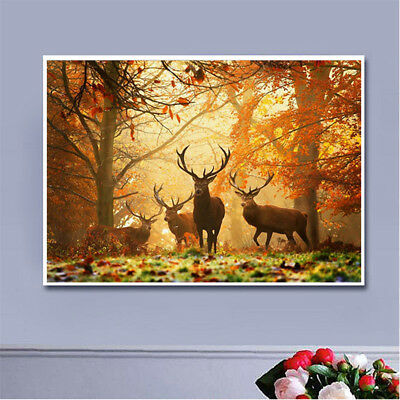 DIY 5D Diamond Painting Full Drill Elk in Forest Diamond Embroidery Wall Decor