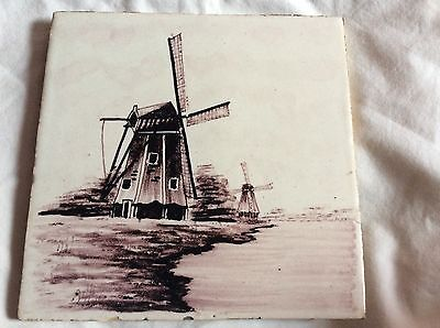 Antique 18Th Century Scenic Dutch Delft Manganese Tile