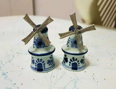 "Vintage "" Windmill""  Salt And Pepper Shakers, Made In Holland"