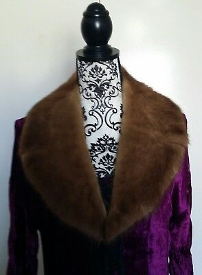 SALE Vintage mink real Fur collar gold brown Cape Custom made & quilted lining