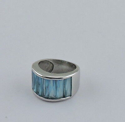 Vintage Silver Plated Aqua Blue Topaz Vertical Faceted Ring Size 5