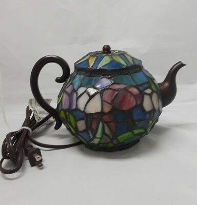 """Vintage Stained Glass Tiffany Style Teapot Lamp 7""""  Multi Colored"""
