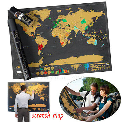 Scratch Off World Map Deluxe Edition Travel Log Journal Poster Wall Decor 2018