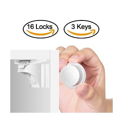 Child Safety Magnetic Cabinet Locks(16 Locks + 3 Keys), Baby Proof, No Tools ...