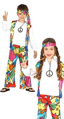 Childrens Hippy Girl Fancy Dress Costume 70/'S Hippie Childs Kids Outfit 3-13 Yrs