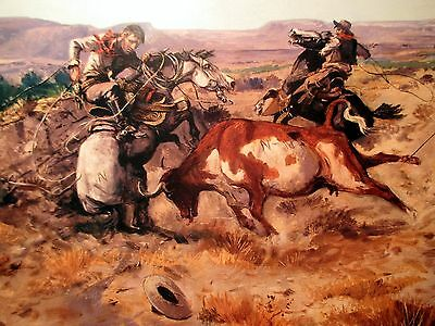 1899 Team Ropers Horse Wreck by Charles Russell from Museum Quality PRINT