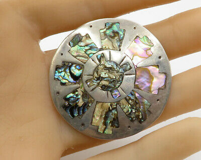PDC MEXICO 925 Silver - Vintage Wheel Mother Of Pearl Brooch Pin Pendant- BP1633