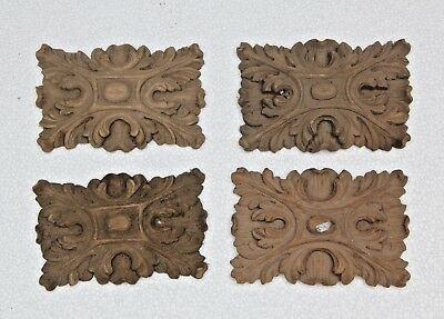 Stunning 4  X Hand Carved Wooden Gothic Style Fancy Plaque Carvings