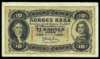 NORWEGEN. NORWAY. 10 Kroner 1941. P. 8c.