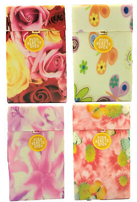 Eclipse Flower Design Hard Plastic Crushproof Cigarette Case, 4ct, 100s, 3117F3