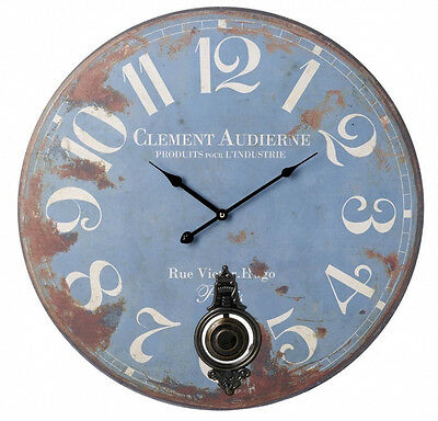Blue Pendulum Wall Clock Shabby Chic French Vintage Style 58 cm Extra Large