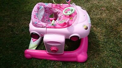 f9f4e267b MOTHERCARE 3IN1 PINK CAR BABY WALKER BOUNCER PUSH-A-LONG WITH ...