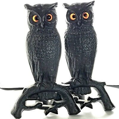 Cast Iron Owl Andirons Glass Eyes Fitted with Pegs to Stand Alone No Log Holders