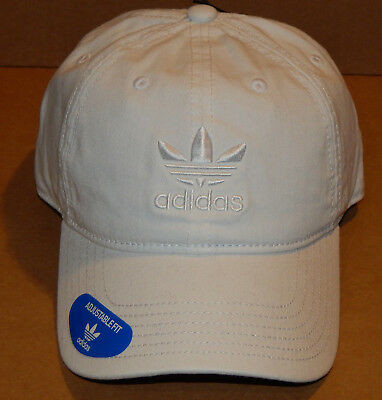 8a3639f6505 Adidas Mens Originals Washed Relaxed Strapback Hat   Cap NEW White White  Trefoil