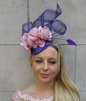 Purple Blush Nude Light Pink Rose Flower Feather Hat Hair Fascinator Races 6027