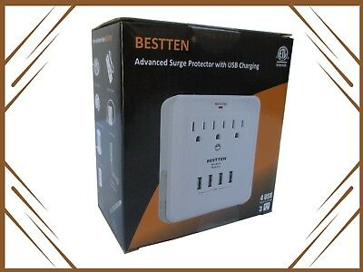 BESTTEN 3 Outlet Receptacle with 4 USB Ports Surge Protector Wall Tap Adapter