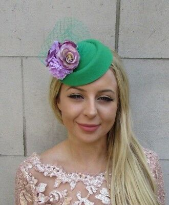 Emerald Green Lilac Purple Flower Pillbox Hat Hair Fascinator Clip Races 6032
