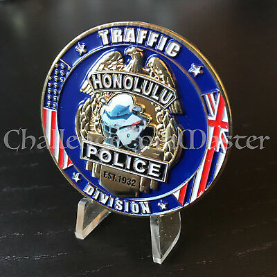 C37 HONOLULU POLICE Traffic DIVISION Motorcycle Hawaii CHALLENGE COIN