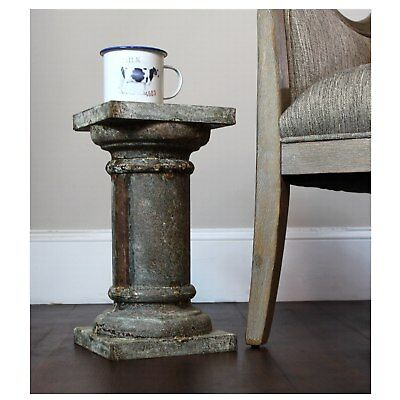 Aged Tin Steel Pedestal Rusted Column for Statues/Sculptures or End Coffee Table