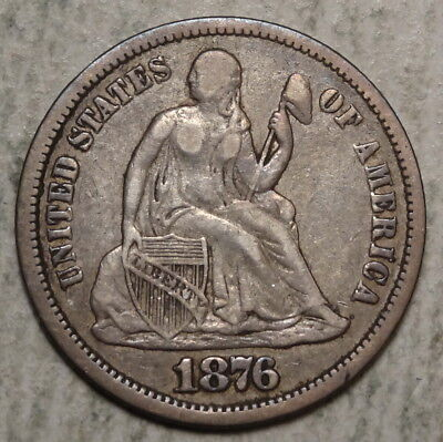 1876-CC Seated Liberty Dime, Very Fine, Nice Type Coin    0613-31
