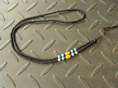 1PCS Natural Chinese Black JADE Circle beads string cord rope for pendant W139