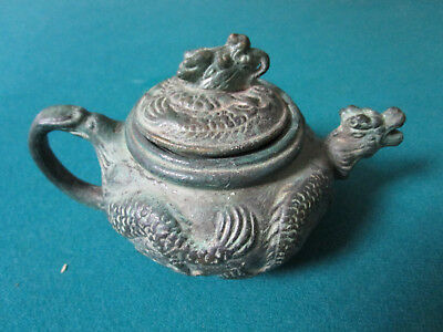 """Antique Chinese Teapot Serpent Dragons 3 X 6"""" Stamped On Back  [*smll]"""