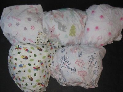 Baby Girl Fitted Crib Sheet Lot Garden & Animals Themed