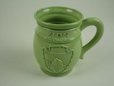 Vintage Zion National Park Green Coffee Cup Mug Made In USA EUC