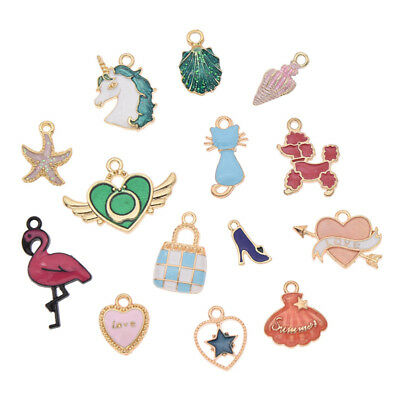 5 /10 Pcs Enamel Charms Pendant Lot For DIY Necklace Earrings Jewelry Marking