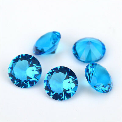 Size 1~15mm Dark Aquamarine Round Shape Loose Glass Beads Synthetic Gemstone