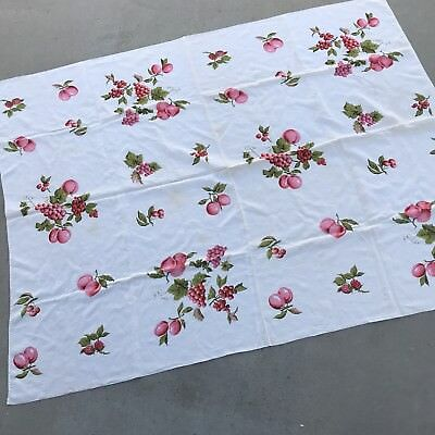 Vintage Tablecloth Printed Pink Green Fruit Cotton Large Peaches Grapes Cherries