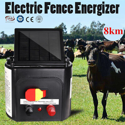 8KM Solar Power Electric Fencing Energizer Farm Fence Charger Livestock Protect