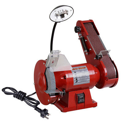 150mm Bench Grinder Linisher 1/2HP 375W Grinding Wheel Sanding Belt w/ LED Light