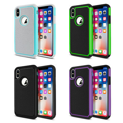 For Apple iPhone X 5.8 inch Dual Layer Hybrid Hard Rubber Silicone Case Cover