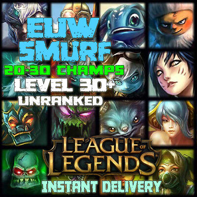 League of Legends EUW Account LoL Smurf 20-30 champs BE IP Unranked Level 30 PC