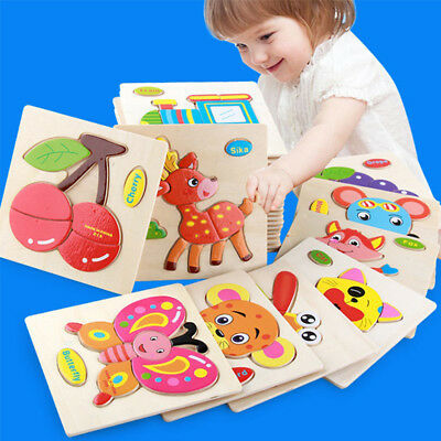 Wooden Puzzle Jigsaw Cartoon Baby Kids Educational Learning Tool Set Toy 1-3Year