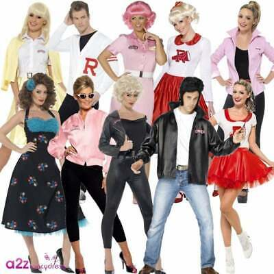 Official Grease Costume Adults Mens Womens Ladies 50's 1950s Fancy Dress Outfit