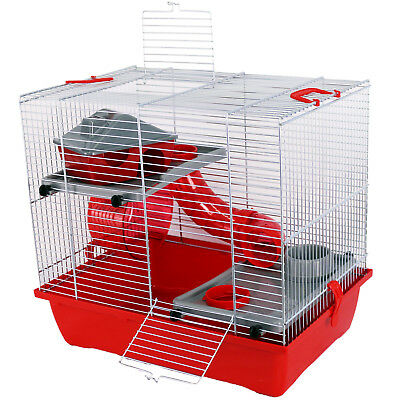 Pet Ting Watson Hamster Cage Red Tubes 2 Levels Dwarf Hamsters Mice Gerbil Mouse