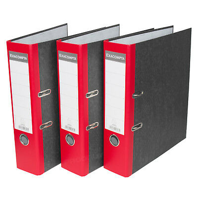 3 x Red 75mm A4 Lever Arch Files Paper Document Large Storage File Folders Grey